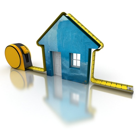 metro medir: Representación 3D de una cinta métrica alrededor de una casa sencilla