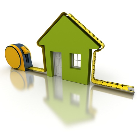 home improvement: 3D rendering of a tape measure in the shape of a house