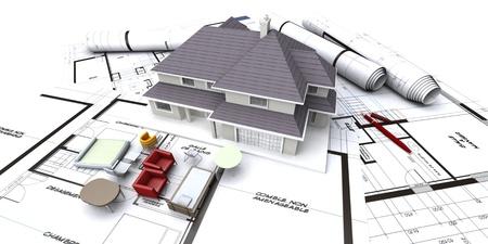 Huis mockup op architect blauwdrukken met opgerolde plannen en miniatuur meubelen