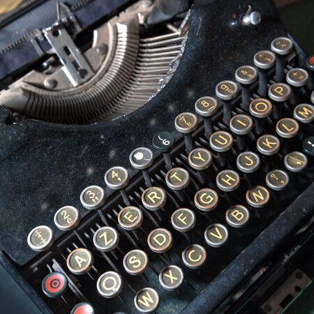 typewriting: Vintage black typewriting machine Stock Photo