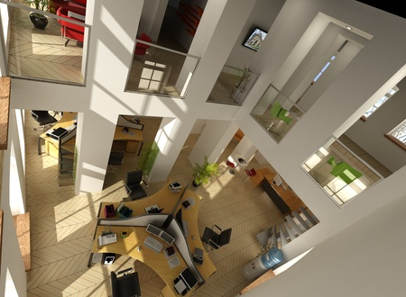 office space: 3D rendering of an aerial view of a luxurious office