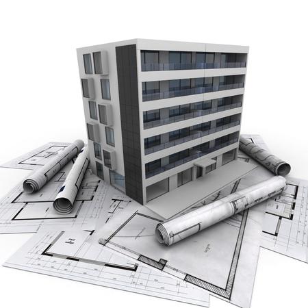 계획: 청사진의 상단에 현대 아파트 건물의 3D 렌더링 스톡 사진