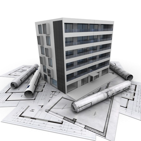 apartment: 3D rendering of a modern apartment building on top of blueprints Stock Photo