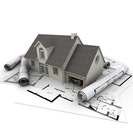 house: 3D-rendering van een huis met garage op de top van blauwdrukken