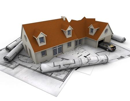 building plan: 3D rendering of a house with garage on top of blueprints