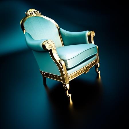 trono: Representación 3D de una silla ornamentada vendimia