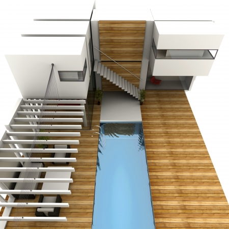 pool deck: 3D rendering of a design house with modern swimming pool