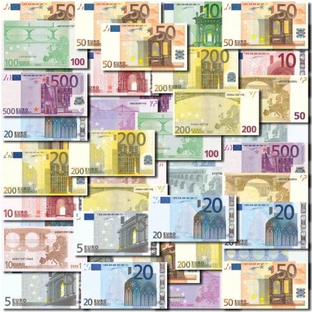 banconote euro: Sfondo di banconote in euro disposti ordinatamente Archivio Fotografico