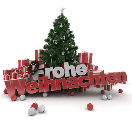 cor: 3D rendering of a Christmas décor, with the words happy Christmas in German  Frohe Weihnachten