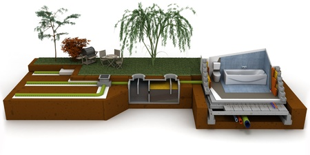 3D rendering of a house cross section showing bathroom and sewage system photo