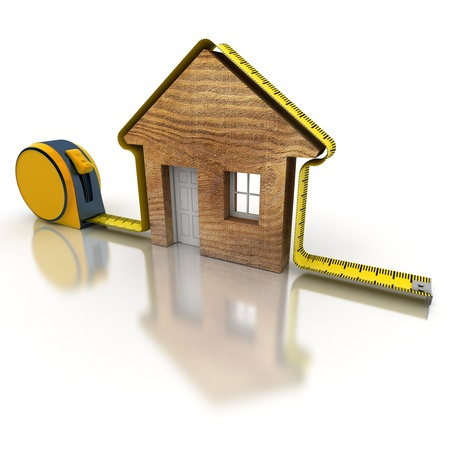 3D rendering of a tape measure in the shape of a house Stock Photo - 16268559