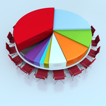 Round meeting table like a pie chart photo