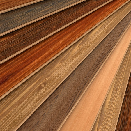 laminate flooring: 3D rendering of parquet strips in different types of woods