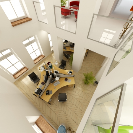 3D rendering of an aerial view of a luxurious office photo