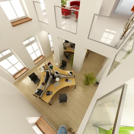 chambre luxe: Rendu 3D d'une vue a�rienne d'un luxueux bureau