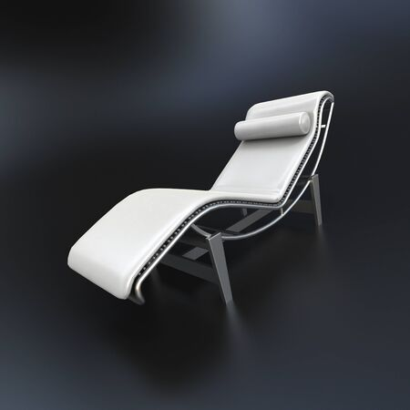 chaise longue: 3D rendering of a white chaise longue