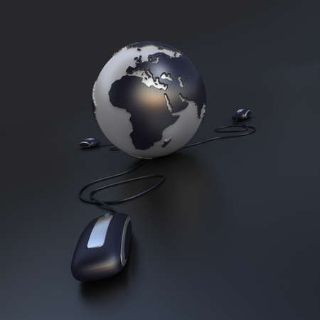 Three computer mouse connected to the Earth in gray and chrome shades photo