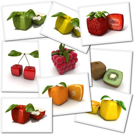 cubic: Collection of cubic fruit renderings