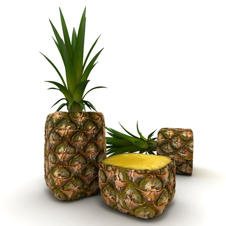 exceptional: 3D rendering of a cubic shaped pineapple