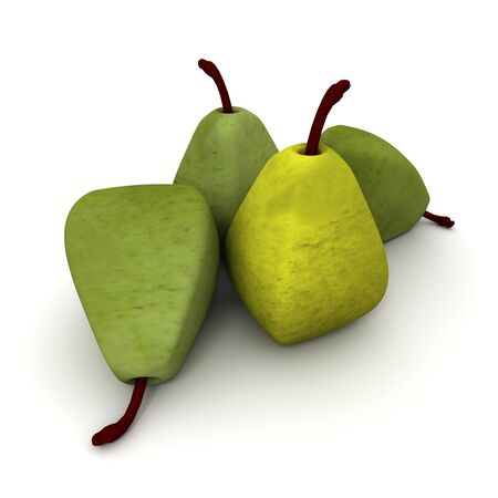 genetically modified: Cubic shaped pears, 3D rendering Stock Photo