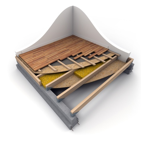 3D rendering of construction flooring details Stock Photo - 16393301