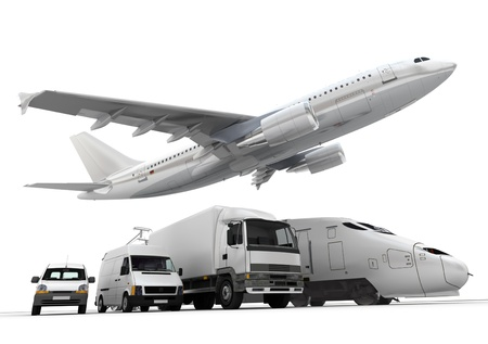 transportation company: 3D rendering of a flying plane, a truck, a lorry, a train and a cargo container