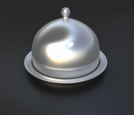 cloche: 3D-rendering van een chroom cloche deksel