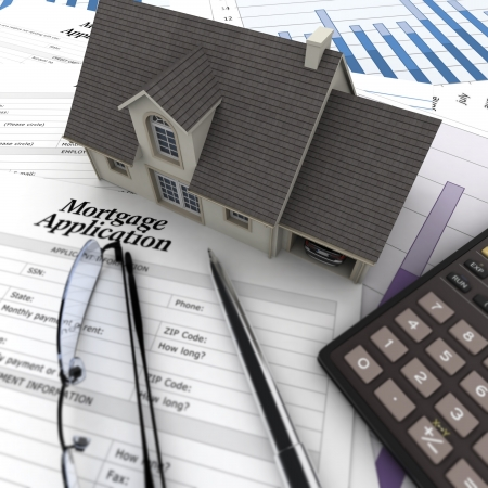 A house on top of a table with mortgage application form, calculator, blueprints, etc..  Stock Photo - 16393262