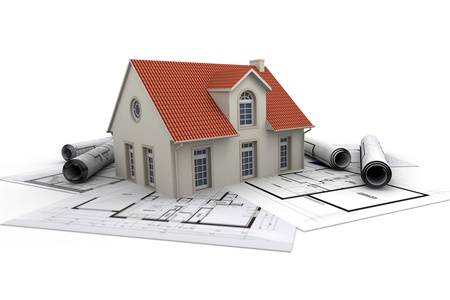 3d rendering of a house with garage on top of blueprints stock house on top of architect blueprints photo malvernweather