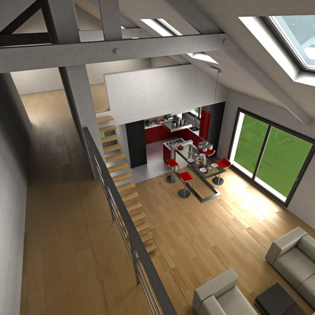 open plan: 3D rendering on an open plan kitchen viewed from upstaris