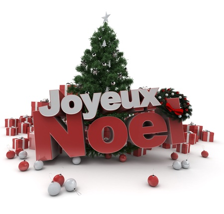 cor: 3D rendering of a Christmas décor, with the words happy Christmas in French: Joyeux Noel Stock Photo
