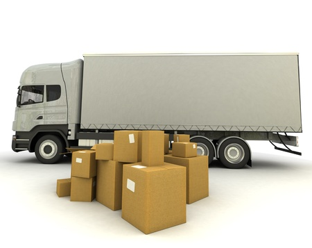 moving truck: 3D rendering of a truck and a group of cartons Stock Photo