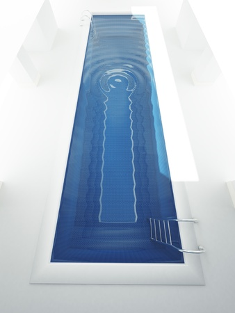 3d swimming pool: 3D rendering of a horizontal shaped pool narrow and long