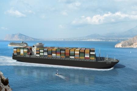 Baai met een vrachtschip, en andere kleinere schepen