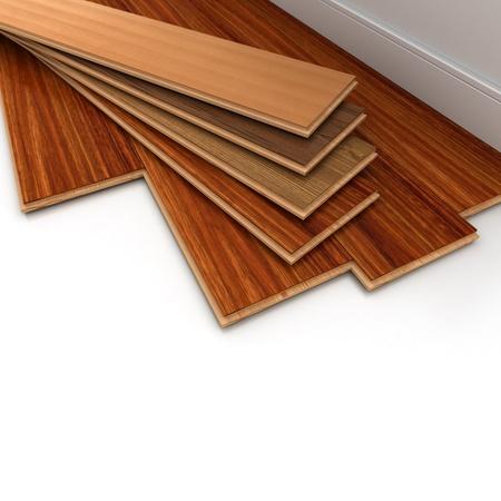 3D-Rendering eines Parkettbodens Installation Standard-Bild