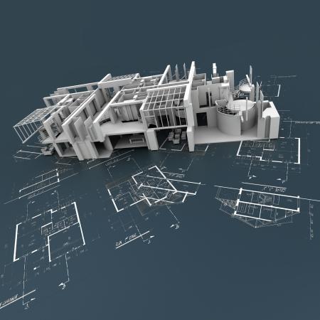 prototipo: Estructura del edificio blanco en la parte superior de los planos técnicos
