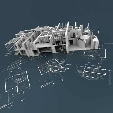 architecture project: White building structure on top of technical blueprints Stock Photo