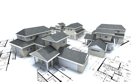 housing project:  3D rendering of different residential architecture models on top of blueprints   Stock Photo