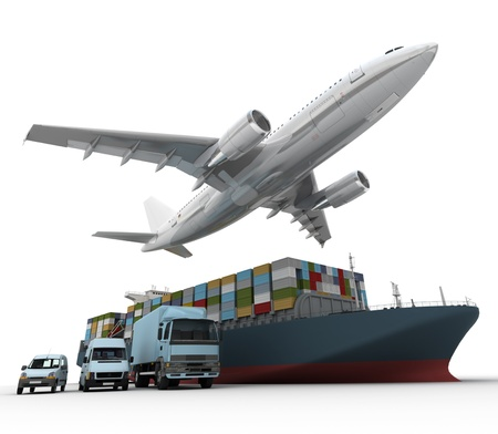 3D rendering of a flying plane, a truck, a lorry, and a freight ship  Stock Photo