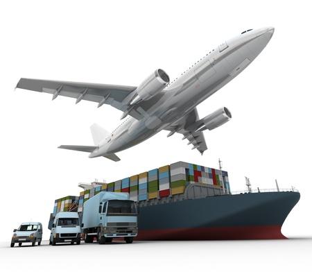 transporte: Representaci�n 3D de un avi�n que volaba, una camioneta, un cami�n y un barco de carga Foto de archivo