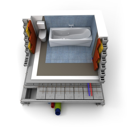 subflooring: Technical details of a bathroom construction