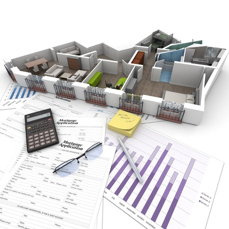 home renovations: Cross section of an apartment on top of a table with mortgage application form, calculator, blueprints, etc..  Stock Photo