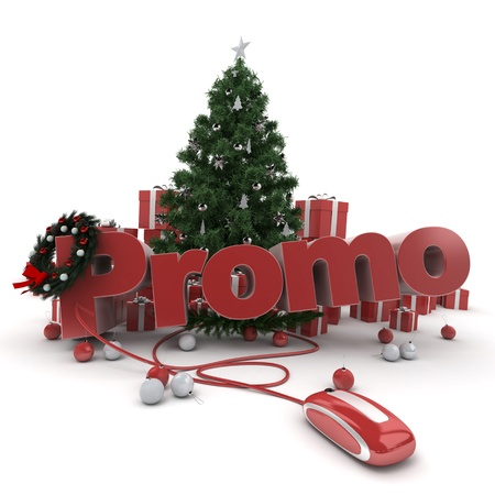 Christmas background with the word Promo connected to a computer mouse Stock Photo - 16477511