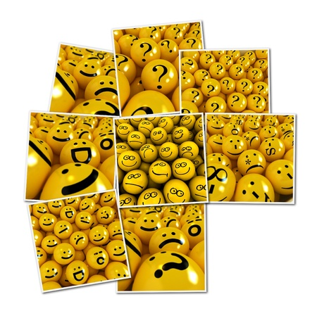 renderings: Collection of renderings of different emoticons Stock Photo