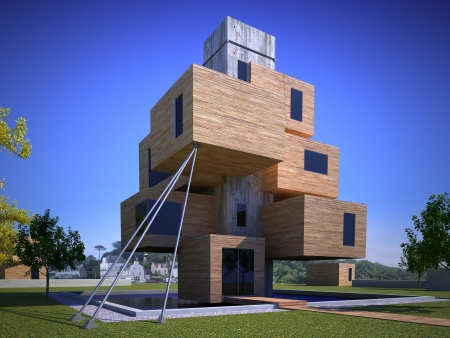 3D rendering of a futuristic house formed by cubes photo
