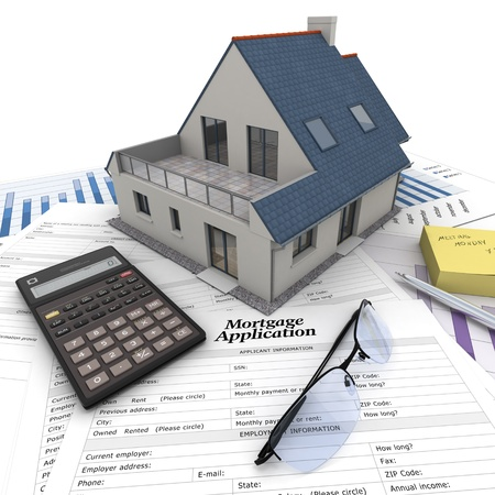 mortgage application: A house on top of a table with mortgage application form, calculator, blueprints, etc