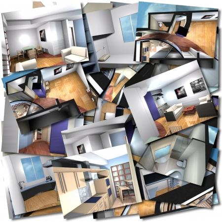 interni casa: Collage con rendering di interni domestici Archivio Fotografico