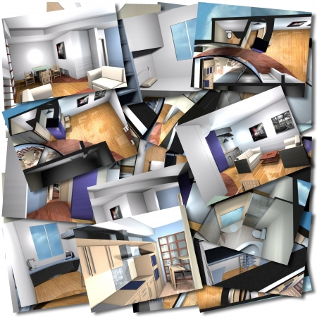 Collage with renderings of home interiors photo