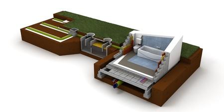 abwasser: 3D-Rendering eines Hauses Querschnitt, Bad und Kanalisation Lizenzfreie Bilder