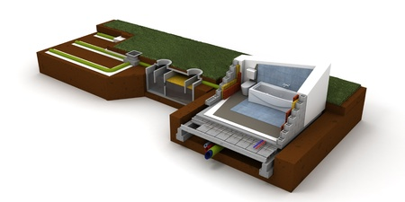 subflooring: 3D rendering of a house cross section showing bathroom and sewage system Stock Photo